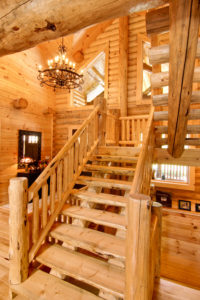 log home interiors Barth-Log-Home-Stairs