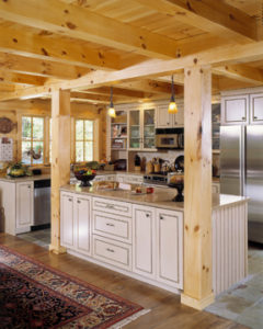 log home interiors, kitchen with white cabinets 5