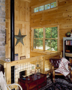log home interiors, view from the loft 7